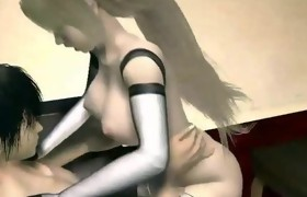 Animated blonde with round tits