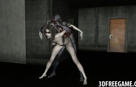Hawt 3D zombie babe getting licked and fucked hard