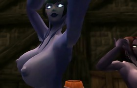 3 naked Draenei dancing