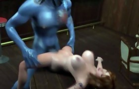3D Babe gets Fucked by Massive Alien Cock!
