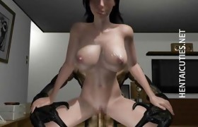 Large titted 3D anime bitch riding cock