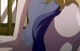 Blond hentai maid with huge titties rides