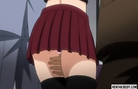 Gagged hentai babe receives gangbanged on the..