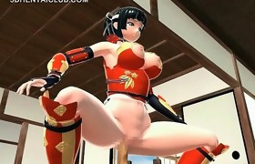 Samurai anime angel trains her fuck holes with..