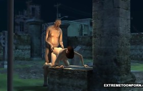 3D Hottie Screwed in a Graveyard by a Zombie