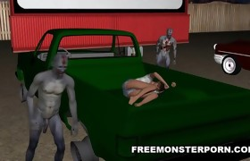 3D Sweetheart Double Teamed Outdoors by Zombies