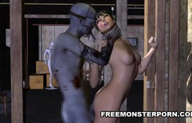Short Haired 3D Honey Fucked Coarse by a Zombie