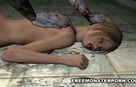 Breasty 3D Chick Drilled Anally by a Zombie