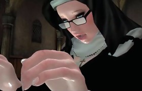 Nun and Demonic Babe  fuck in Futanari