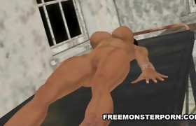Breasty 3D Brunette Sucks a Zombie Cock