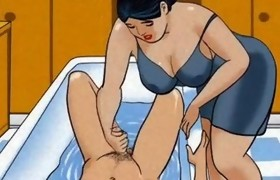 Aged mommy tugjob pecker her chap - animation