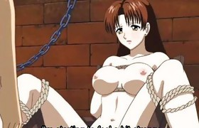 Tied up anime gets dildo in cunt