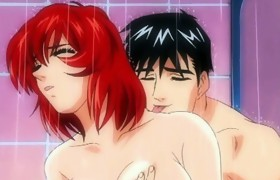 Breasty anime fingering and hot pushing in the..